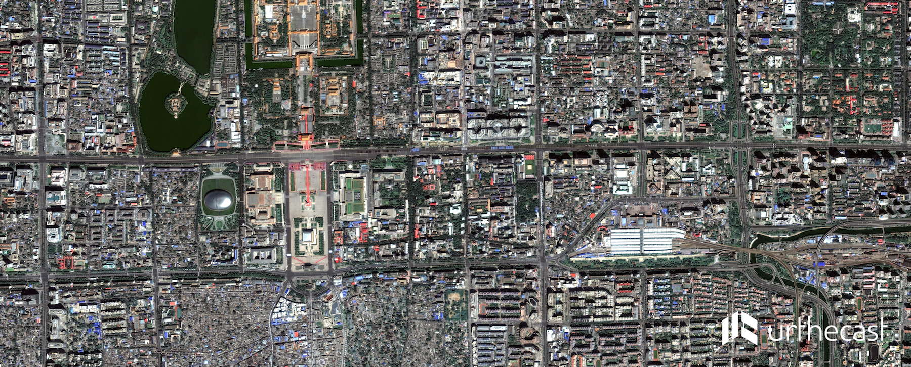 Tiananmen Square Military Parade, captured by UrtheCast's Deimos-2 satellite on Sept. 3, 2015.